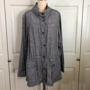 Caslon Jacket Mandarin Collar Front Pockets Belt